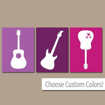 Girl GUITAR Wall Art Music Theme Nursery Girl Bedroom Pictures Music Art Rock N Roll Rock and Roll Set of 3 Girl Nursery Art Canvas or Print