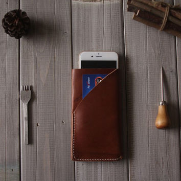 Hand Stitched iphone 6 case, Personalized iphone 6 plus sleeves, Credit card Case - CPS hand punched and stitched
