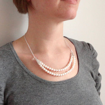 White pearl bib necklace freshwater pearls two strands clear quartz stones elegant