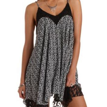 Black Combo Lace-Trim Tribal Print Trapeze Dress by Charlotte Russe