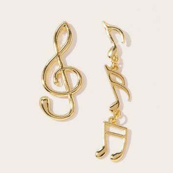 Music Note Shaped Mismatched Drop Earrings 1pair