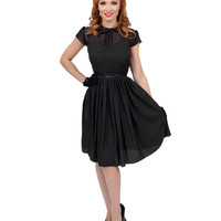 1950s Style Black Metallic Dotted Dolly Swing Dress
