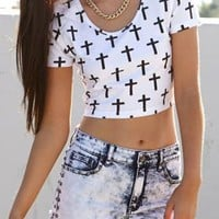 Multi Cross Crop Top for Women