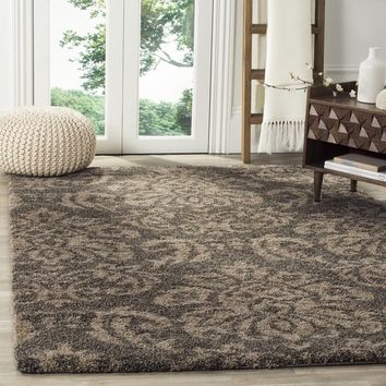 Safavieh Florida Shag Smoke/ Beige Damask Area Rug (3'3 x 5'3) | Overstock.com Shopping - The Best Deals on 3x5 - 4x6 Rugs