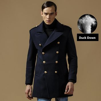 new Winter Coat Men Wool Cotton Double Breasted Long Designer Jacket Thicken Mens Peacoat Size M-3XL A083