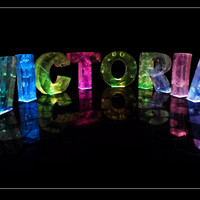 The Name Victoria in 3D coloured lights
