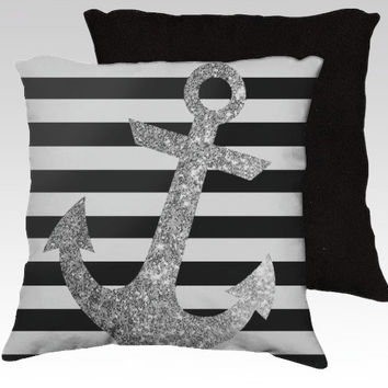 SILVER GLITTER ANCHOR pillow in black and white // #silver #glitter #anchor #black #white #nautical #stripes #shabby #beach #home #pillow