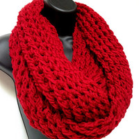 Gentlemen's Infinity Scarf. Men's Winter Fashion scarf. Red Infinity Scarf