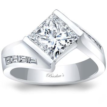 Barkev's Tension Twist Half Bezel Set Princess Cut Diamond Baguette Engagement Ring