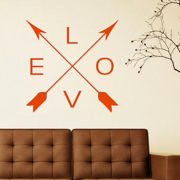 Arrows Love Wall Decal Vinyl Sticker- Navaho Arrows Wall Decor- Simple Indie Arrow Wall Art- Tribal Arrow Nursery Art Bedroom Dorm C060
