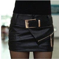 New fashion 2014 sexy leather skirt boots pants short leather skirt bust skirt PU culottes with belt = 1947036228