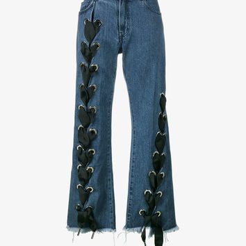 LACE-UP WIDE-LEG JEANS