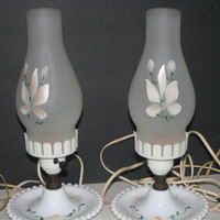 Pair of Vintage Lamps with frosted Globes and Milk Glass Bases,Collectible vintage,Castawayacres