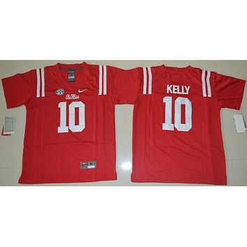 ESBO2N Nike Youth Ole Miss Rebels Chad Kelly 10 College Ice Hockey Jerseys - Red Size S,M,L,XL