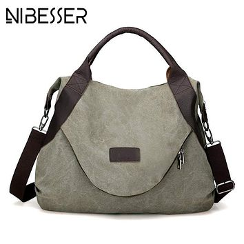 NIBESSER Original Fashion Woman Canvas Bags Large Capacity Casual Female Messenger Bag bolsos mujer Vintage Ladies Crossbody Bag