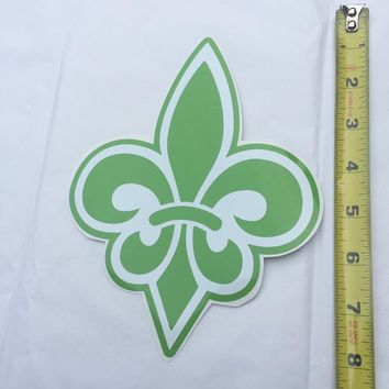 Fleur de Lis Decal Peel & Stick Sticker in Green and White - NOLA Gifts - New Orleans Original - Made in the USA - Free Shipping!