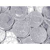 Silver Foiled Milk Chocolate Coins: 1LB Bag