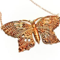 Simple Gold Filigree Butterfly Pendant