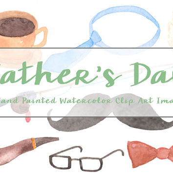 Father's Day Watercolor Clip Arts Scrapbooking Digital Files Mustache Bow Tie Glasses Download printable Dad Beer Fishing