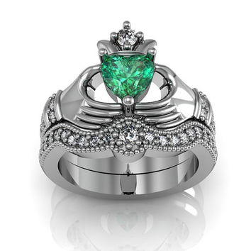14K White Gold Created Emerald  Claddagh  Love and  Friendship Engagement Ring Set