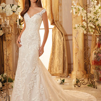 Blu by Mori Lee 5471 Off the Shoulder Lace Fit & Flare Wedding Dress – Off White by Bridal Expressions