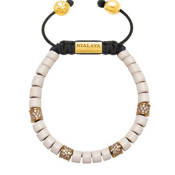 The Tulum Collection - White Ceramic and Gold/Clear CZ