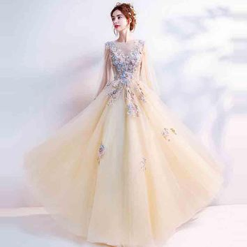 Flowers Shawl Floral Lace Up Tulle Floor Length Party Gown Evening Gowns