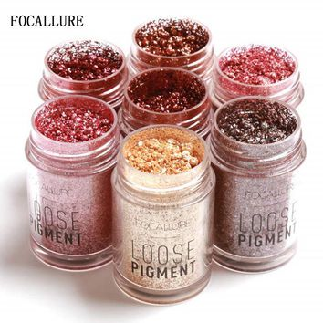 FOCALLURE 12 Colors Glitter Eye Shadow Cosmetic Makeup  Lips Loose Makeup Eyes Pigment Powder