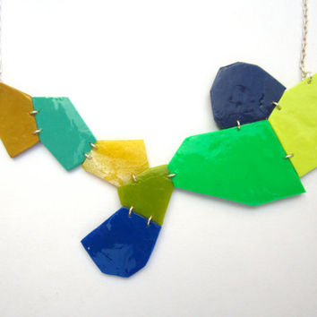Modern Geometric Necklace, Colorful Pendant, Jade Necklace, Green Jewelry, Yellow Necklace, Gold Necklace, Blue Jewelry, Sterling Silver