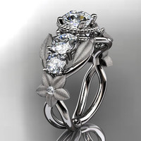 14kt white gold diamond floral leaf and vine by anjaysdesigns