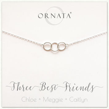 """""""Three Best Friends"""" Sterling Silver Necklace 