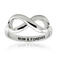 Tioneer Sterling Silver Now & Forever Engraved Infinity Ring - Size 7