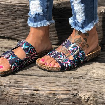 Bright Aztec Birk Sandals