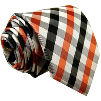Orange and Black Plaid Tie