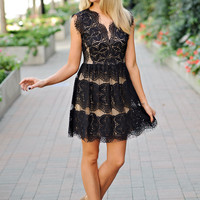 Michelle Black Butterfly Lace Dress with Nude Underlay