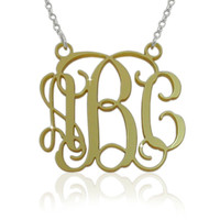 Acrylic Monogrammed Necklace 1.25 Inch - Gold Color With Sterling Silver Chain