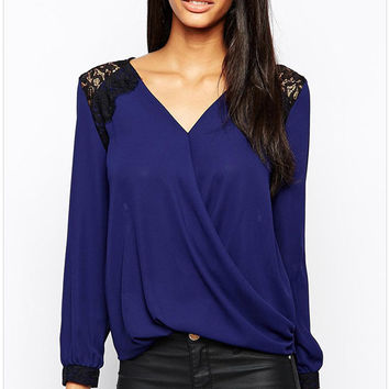 V Neck Lace Long-Sleeve Shirt