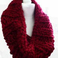 Hand knit cowl, red super chunky acrylic yarn cowl snood muffler, UK shop