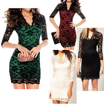 Fashion Ladies' Sexy Slim Flower V-Neck Middle 3/4 Sleeve Women's party evening  Mini Lace Dress for women G0045 Vestidos = 5659304193