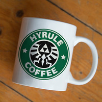 Hyrule Coffee the legends of zelda mug Design by mugxagrip cup, white mug two face