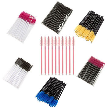 50 pcs/pack, One-Off Disposable Eyelash Brush Mascara Applicator Wand Brushes Eyelash Comb Brushes