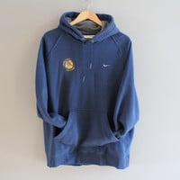 Nike Hoodie Blue Hooded Nike Sweatshirt White Logo Fleece Lining Mother's Day Run Grunge Jacket Hipster Unisex 90s Vintage Size  M - L