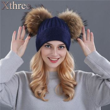 DCCKJG2 Xthree winter hat for women wool knitting beanies natural fur double pom poms Skullies girls hat feminino
