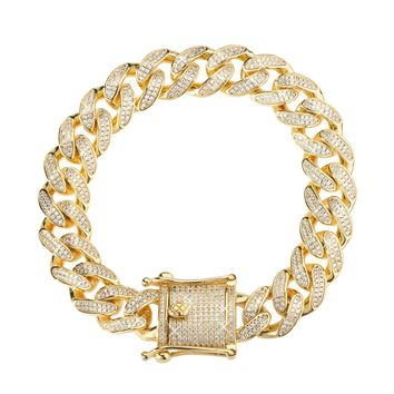 12mm Iced Cuban Link Bracelet