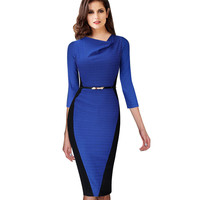 VfEmage Women Belted Elegant Optical Illusion Draped Neck Tunic Wear To Work Business Casual Office Sheath Pencil Dress 348