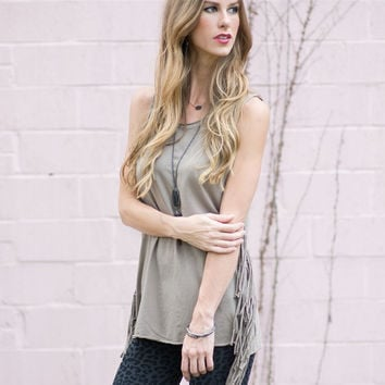 Ready to Ride Fringe Moto Tank  (Taupe-Gray)