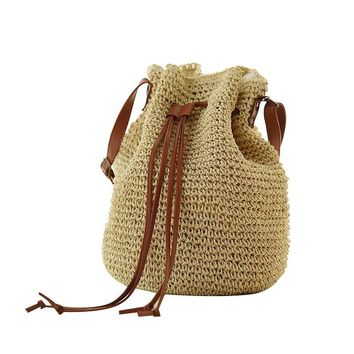 Tassel Straw Woven Bag With Drawstring Bucket Schemes Beach Bags Straw Bag Series Shoulder Bag Series BP0063