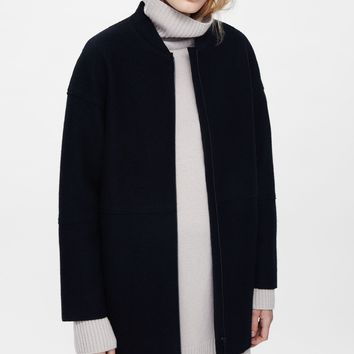 Raw-edge wool coat