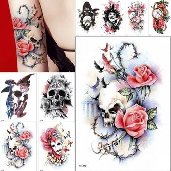 Skull Skulls Halloween Fall 1 PCS Large Waterproof Temporary Tattoo Stickers Men Arm Body Art Rose  Birds clock designs Fake Tattoo WomenTattoo 15*21cm Calavera