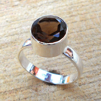 Smoky Quartz - Fine Silver Ring, 925 Sterling Silver, Solid Silver Ring, Handmade Ring, Bezel Ring,Wedding Wear Ring
